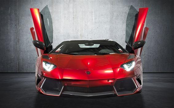 Wallpaper Red Lamborghini supercar front view, doors opened