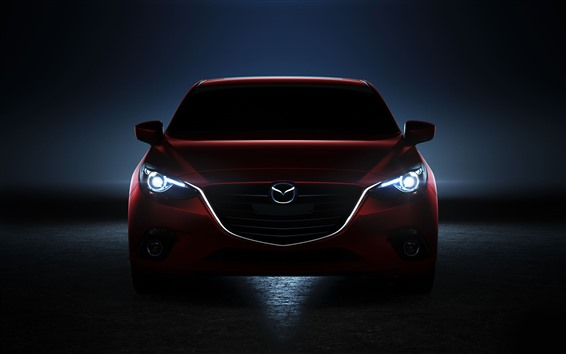 Wallpaper Red Mazda car front view, black background
