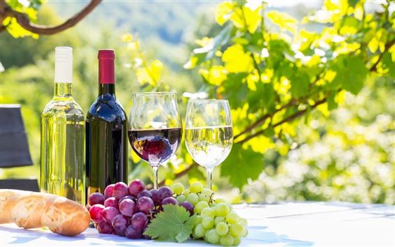Fondos de pantalla Uvas rojas y verdes, vino, botella, copas, sol