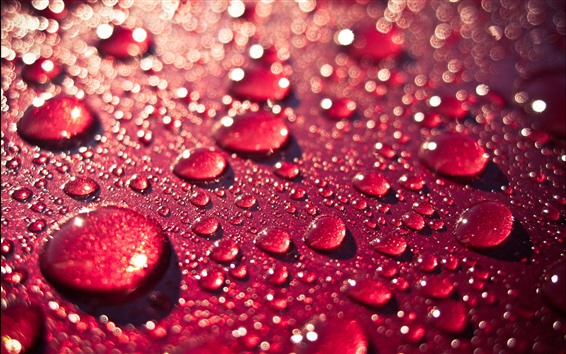 Wallpaper Red background, water droplet