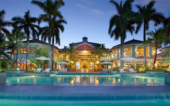 Обои Курорт, бассейн, пальмы, огни, дом