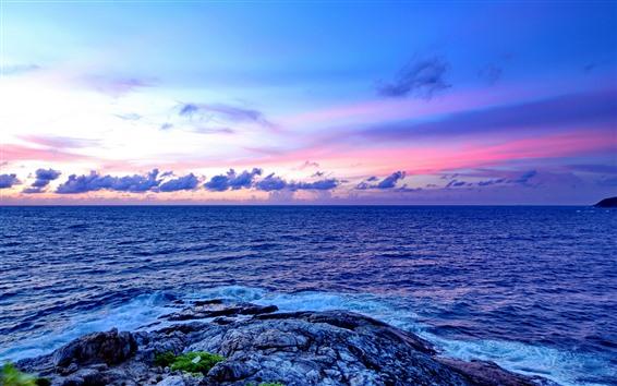 Wallpaper Sea, rocks, clouds, sky, dusk
