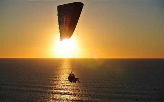 桌布 海洋,表面,降落傘,日出,眩光