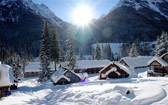 Wallpaper Snow, village, houses, sun rays, winter