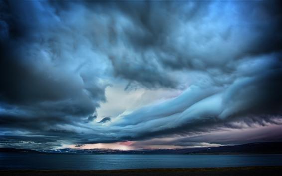 Hintergrundbilder Sturm, dicke Wolken, Meer, Abenddämmerung