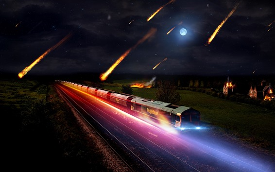 Wallpaper Train, speed, meteorite fall, moon, night