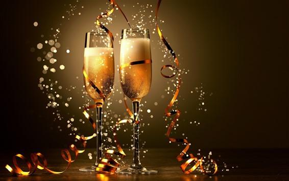 壁紙 シャンパン、リボン、輝きの2つのガラスのコップ