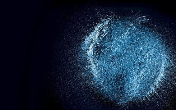 Wallpaper Water explosion, moment, black background