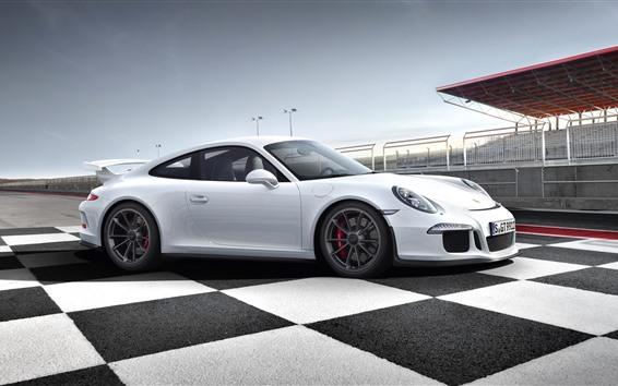 Fond d'écran Vue de côté de supercar Porsche 911 blanc