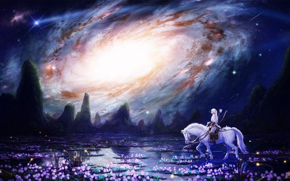 壁紙 白い馬、女の子、花、沼、銀河、美しい芸術写真