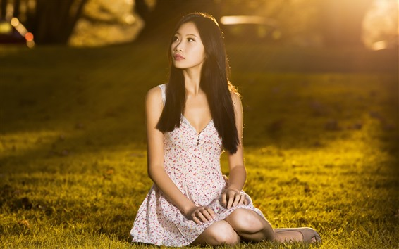 Wallpaper Young Asian girl, meadow, grass, sun rays