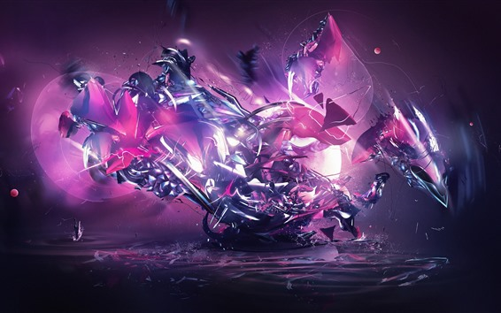 Wallpaper Abstract machine, purple style, creative design