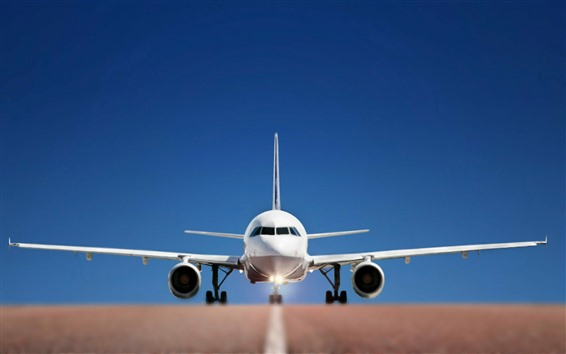 Wallpaper Airplane front view, wings, road, blue background