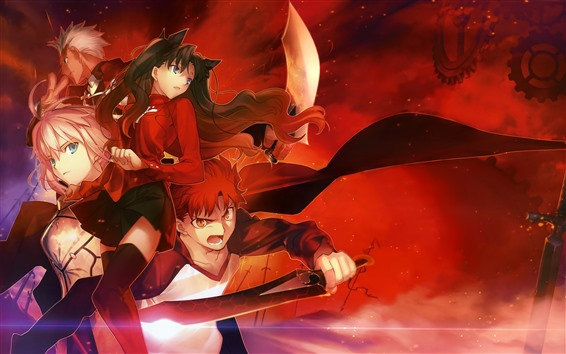 Wallpaper Anime girl and boy, sword, red style