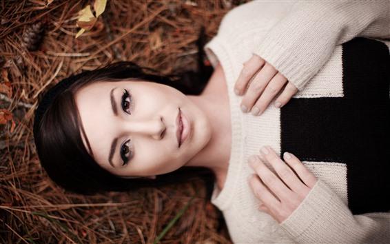 Hintergrundbilder Asiatisches Mädchen, Pullover, Ruhe
