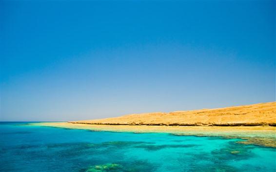 Fondos de pantalla Mar azul y cielo, costa