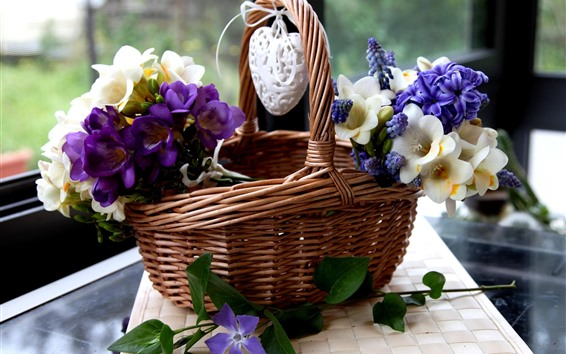Wallpaper Basket, white and purple flowers, love heart