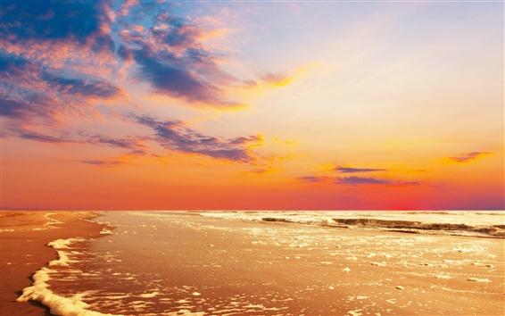 Hintergrundbilder Strand, Meer, Schaum, Wasser, Wolken, Sonnenuntergang