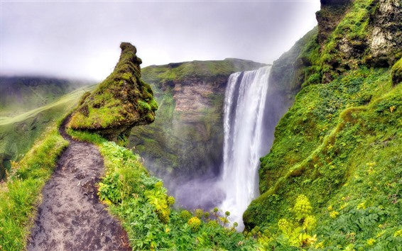 Fondos de pantalla Hermosas cascadas, hierba, niebla, verde