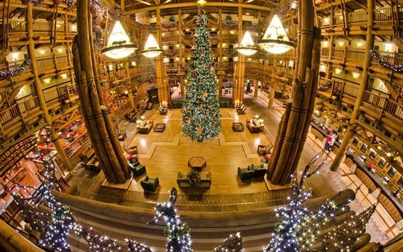 Wallpaper Big Christmas tree, hall, lights