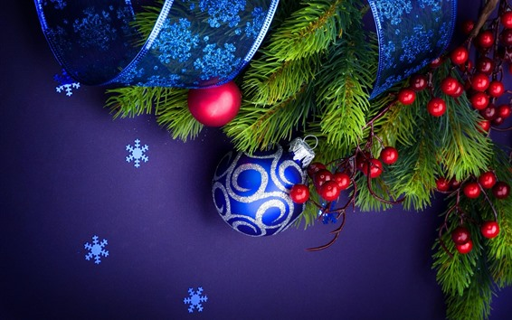 Wallpaper Blue Christmas balls, twigs, berries, ribbon, snowflakes