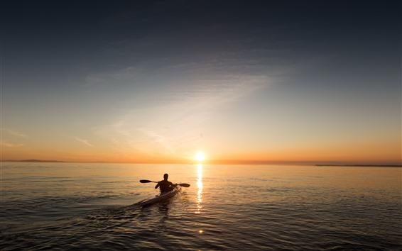 壁纸 船,人,海,日出