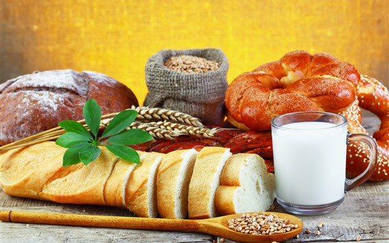 Fond d'écran Petit déjeuner, pain, lait