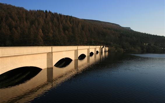 Fondos de pantalla Puente, río, colina