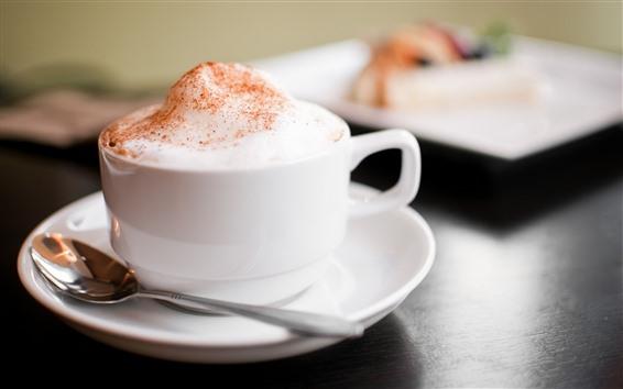 Wallpaper Cappuccino coffee, white cup, foam, hazy