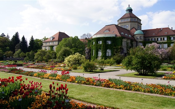 Fond d'écran Château, fleurs, jardin, arbres