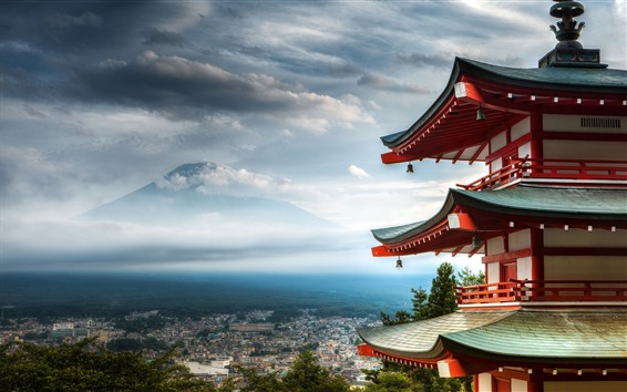 Fond d'écran Ville, temple, vue de dessus, montagnes, Japon