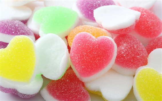 Wallpaper Colorful love hearts soft candy
