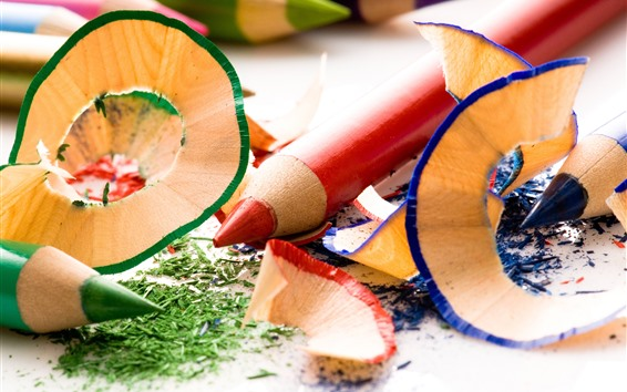 Fond d'écran Crayons colorés, bois