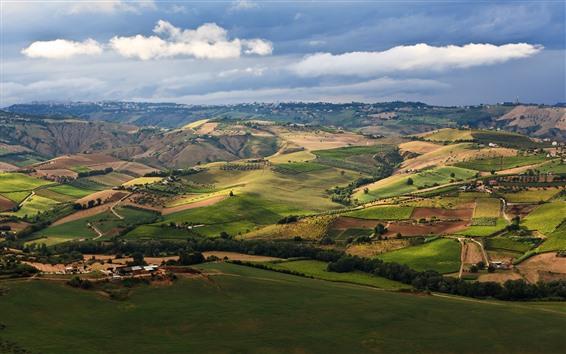 Обои Деревня, поля, деревня, холмы, облака