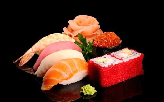 Обои Вкусная японская еда, суши, морепродукты, черный фон