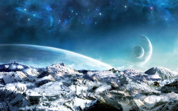 Обои Мир мечты, планеты, снег, космос, красиво