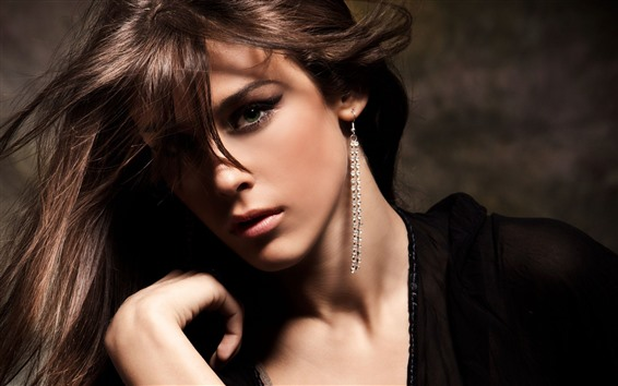 Wallpaper Fashion girl, face, brown hair, earring