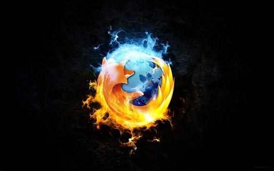 Обои Логотип Firefox, черный фон