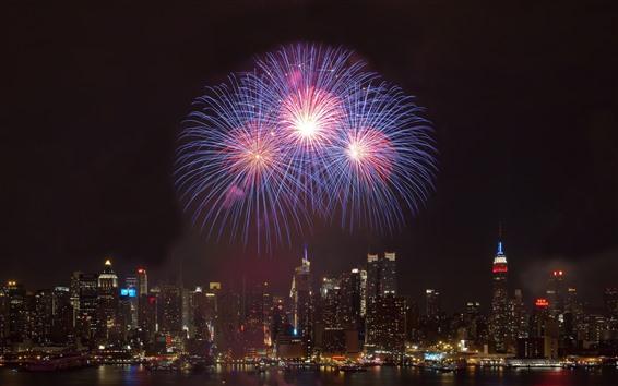 Wallpaper Fireworks, city, night, skyscrapers