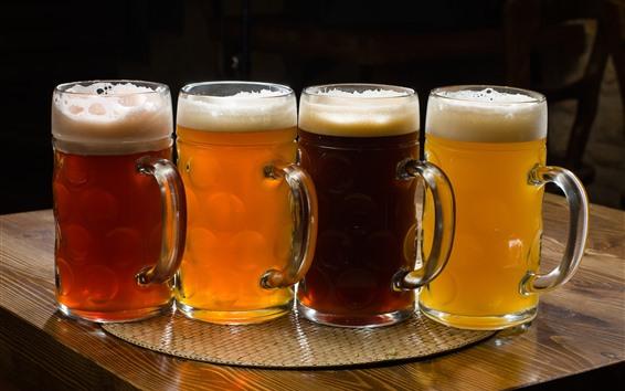 Fondos de pantalla Cuatro tazas de cerveza