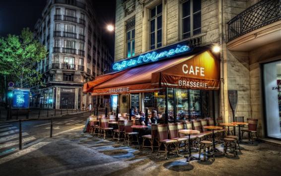 Papéis de Parede França, Paris, café, noite, luzes, rua, cidade