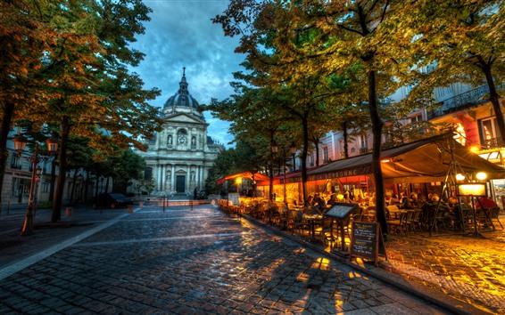 Hintergrundbilder Frankreich, Café, Bäume, Straße, Abenddämmerung, Stadt