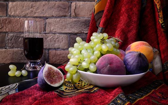 壁紙 緑のブドウ、イチジク、桃、ワイン