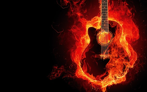 Wallpaper Guitar with fire, creative picture