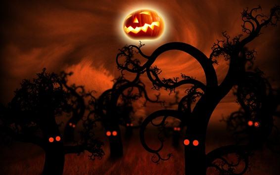 Обои Хэллоуин, деревья, тыква, ночь, креативная картина