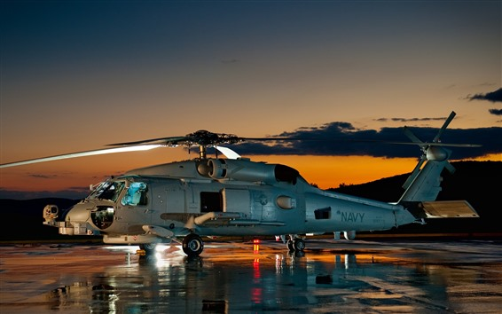 Fondos de pantalla Helicóptero, noche, estancia