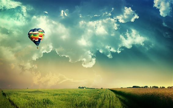 Wallpaper Hot air balloon, fields, sky, clouds