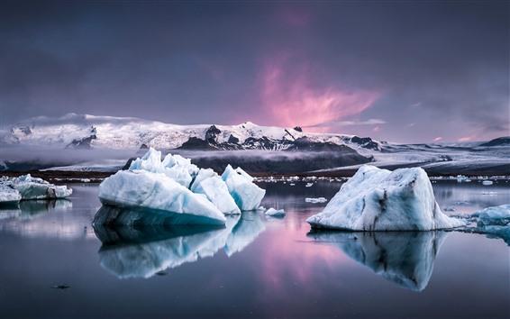 Wallpaper Iceland, ice, sea, dusk, snow