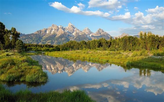 Fond d'écran Lac, montagnes, arbres, nuages, reflet de l'eau, Wyoming