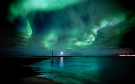 壁紙 灯台、オーロラ、海、美しい空、夜